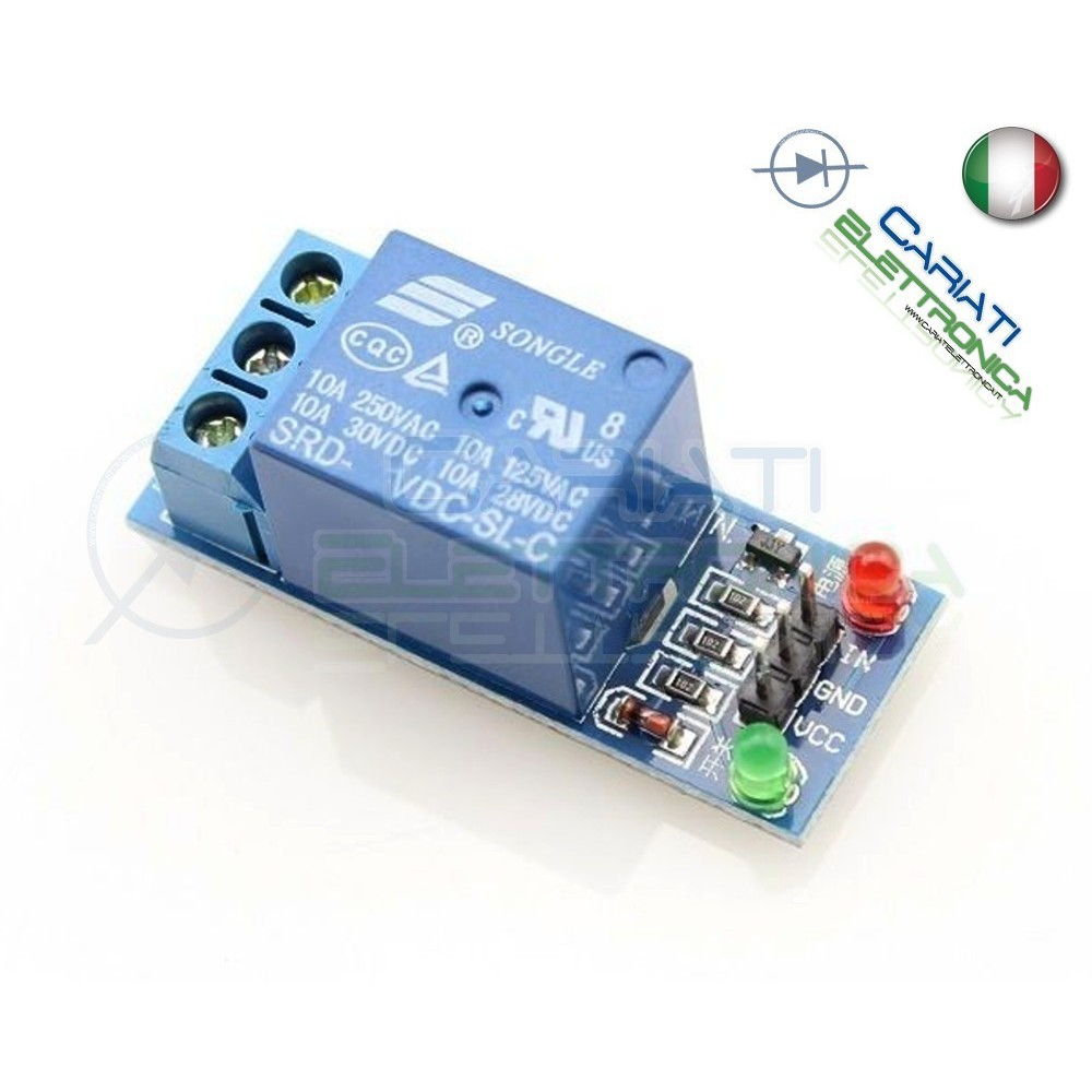 Modulo Scheda Relè 1 Canale 5V Optoisolato 10A 250V Arduino Shield Bobina 5Vdc Generico
