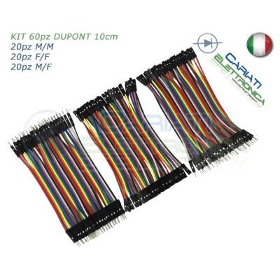 kit 60 ponticelli 10 cm DUPONT jumper breadboard arduino M/M + M/F + F/F
