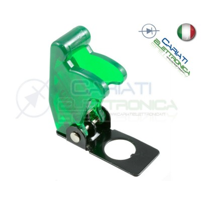 COVER INTERRUTTORE A LEVA VERDE TRASPARENTE Aircraft Missile Style Toggle Switch Flick  1,90 €