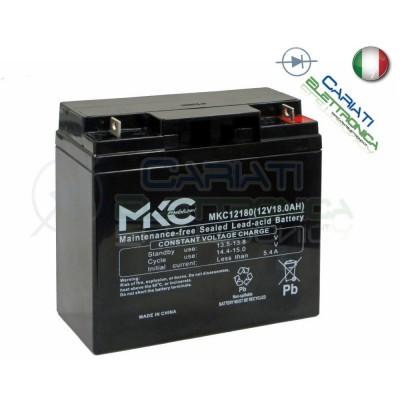 BATTERIA ERMETICA AL PIOMBO RICARICABILE MKC MKC12180 12V 18AhMKC