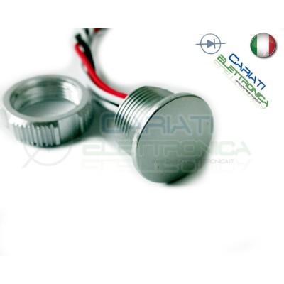 PULSANTE PIEZOELETTRICO 18mm colore argento 12V 24V SPST IP68 piezo switch