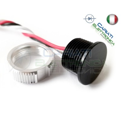 PULSANTE PIEZOELETTRICO 18mm colore nero 12V 24V SPST IP68 piezo button switch