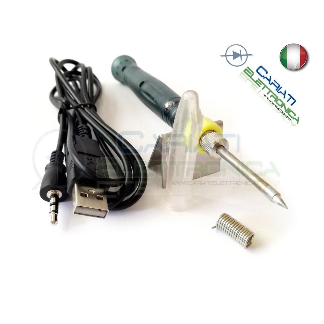 Saldatore USB 5V 8W punta sottile con supporto protezione e stagno 9,50 €