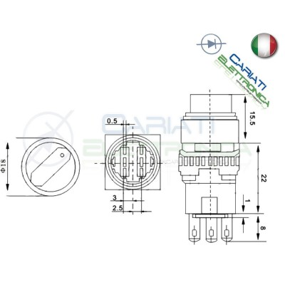 INTERRUTTORE DEVIATORE DP3T ON OFF ON 6 pin