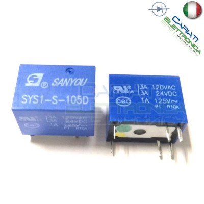 Relè singolo 1 scambio SANYOU SYS1-S-105D 5V DC 3A 120V SPDT Omron 1,00 €