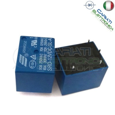 1 PEZZO Relay Relè 12V Dc 10A Singolo 1 Scambio SONGLE SRD-12VDC-SL-A SPST PCBSongle