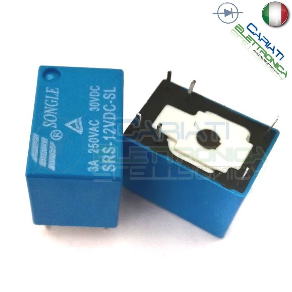 1 PEZZO Relay Relè 12V Dc 3A Singolo 1 Scambio SONGLE SRS-12VDC-SL SPDT PCB