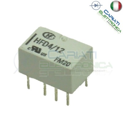 Relay Relè 12V Dc Doppio 2 Scambio NEC HFD4-012 DPDT PCB  2,00€