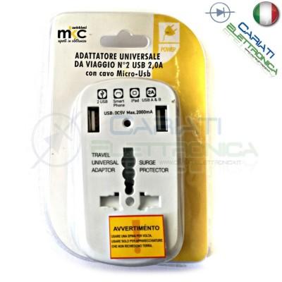 ADATTATORE UNIVERSALE DA VIAGGIO PER PRESE ELETTRICHE CON 2 PORTE USB 5v 2A