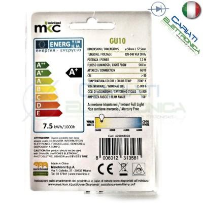 Lampada Lampadina Faretto Luce LED GU10 230V 7,5W BIANCO CALDO 2700k 540Lm
