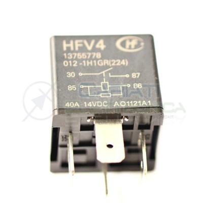 HFV4 Relè 12v 30A 40A Relay Auto Camper Universale 4 Contatti HONGFA RELAY
