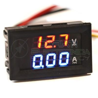 Amperometro Voltometro ROSSO BLU da pannello 0-10A 0-100V testerGenerico