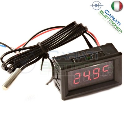 DISPLAY TERMOMETRO DIGITALE da PANNELLO LED ROSSO -20 a +100℃ NTC DC