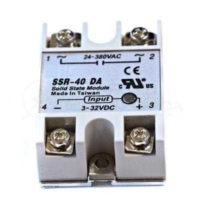 Relè Statico 40A 3-32Vdc 24-380Vac SSR-40 DA Stato Solido Relay Generico