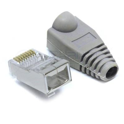 10 PEZZI PLUG CONNETTORE RJ45 CAT 6 SCHERMATO FTP CAVO LAN ETHERNET CON COVER