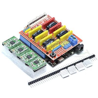 CNC Shield scheda di espansione con Arduino Uno Driver A4988 Dissipatori Strip Generico