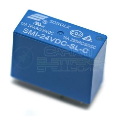 Relè Songle SMI-24VDC-SL-C con bobina da 24Vdc 10A 30Vdc 10A 250Vac SPDT