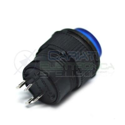 PULSANTE LED BLU 12V ROTONDO DIAMETRO 18mm