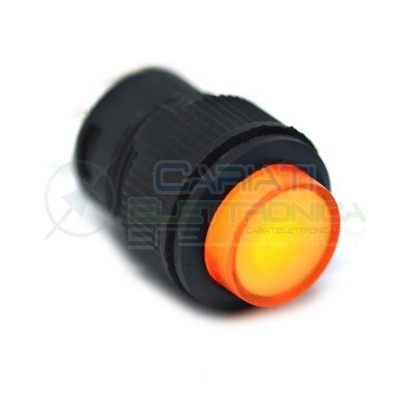 PULSANTE LED GIALLO 12V ROTONDO DIAMETRO 18mm