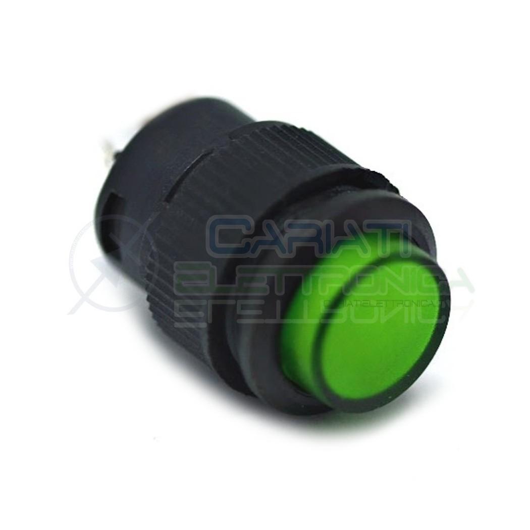 INTERRUTTORE LED VERDE 12V ROTONDO DIAMETRO 18mm