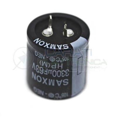 Condensatore elettrolitico 3300uF 63V 105°C Samxon Snap In 30x30mm Samxon