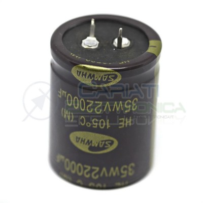 Capacitor 22000uF 35V 105°C electrolytic 35x45mm Snap in Samwha Pitch pin 10mmSamwha