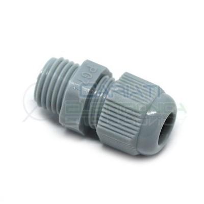 5 PEZZI PRESSACAVO IN NYLON GRIGIO M12.5 IP68 D12.5mm PG7 per cavi da 3.5/6mm