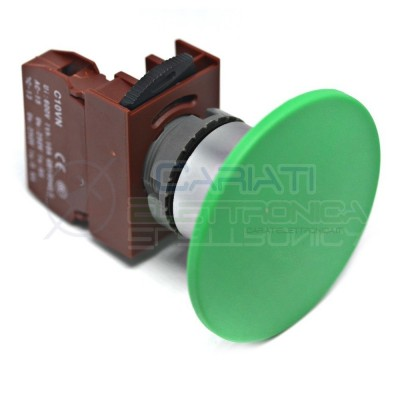 Pulsante di emergenza a fungo Verde diametro 60mm da pannello 250Vac 6A 250Vdc 0.6A SPST button switch