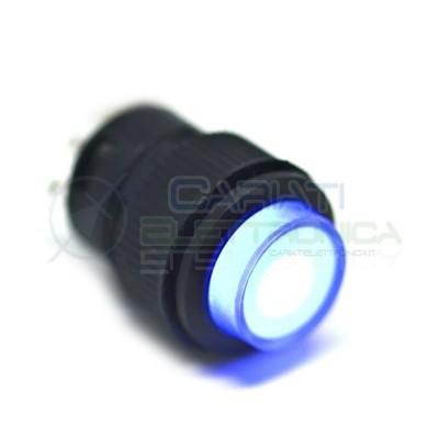 10 PEZZI INTERRUTTORE LED BLU 12V ROTONDO DIAMETRO 18mm  15,00€