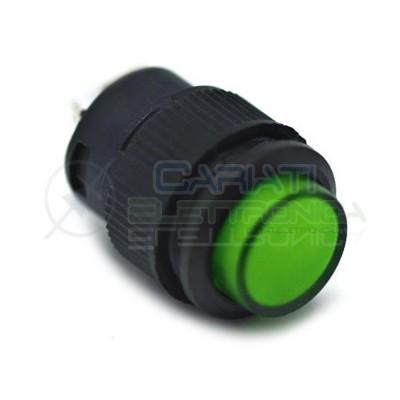 10 PEZZI INTERRUTTORE LED VERDE 12V ROTONDO DIAMETRO 18mm